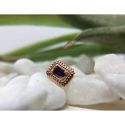 BVLA Threaded Afghan Baguette Amethyst Rose Gold16g