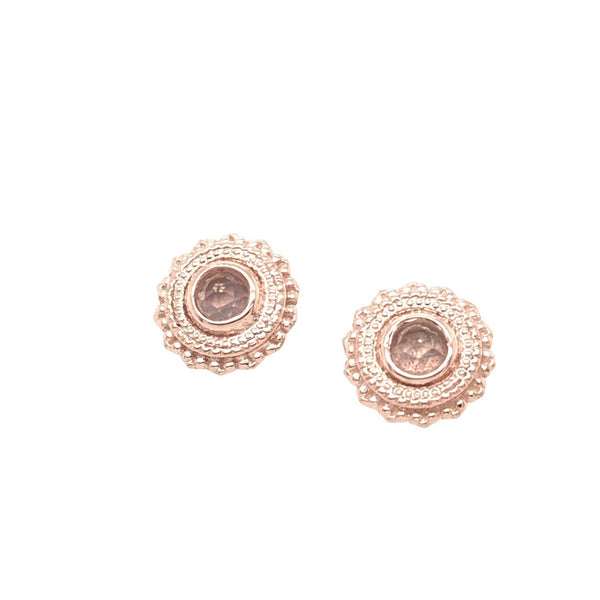 BVLA Threaded Afghan Rose Cut Rose Quartz Rose Gold 16g 3.0 mm