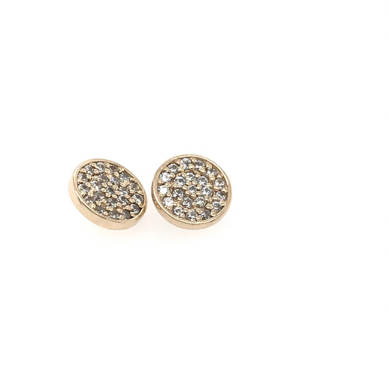 BVLA Threaded CZ Micro Pave Disk Yellow Gold 16g 8.5 mm