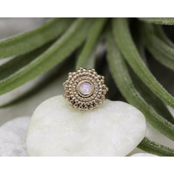BVLA Threadless Afghan White Opal AAA Rose Gold 1.5 mm