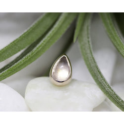BVLA Threadless Low Profile Bezel Cabochon Pear Rainbow Moonstone Rose Gold 5.0 mm x 3.0 mm