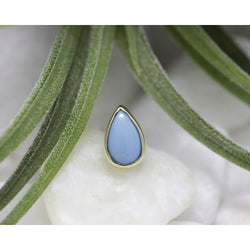 BVLA Threadless Low Profile Bezel Cabochon Pear Turquoise Yellow Gold 5.0 mm x 3.0 mm