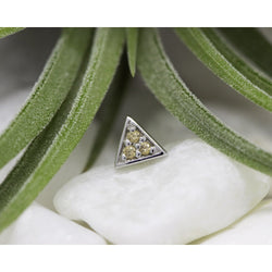 BVLA Threadless Micro Pave Triangle Champange CZ White Gold 1.0 mm