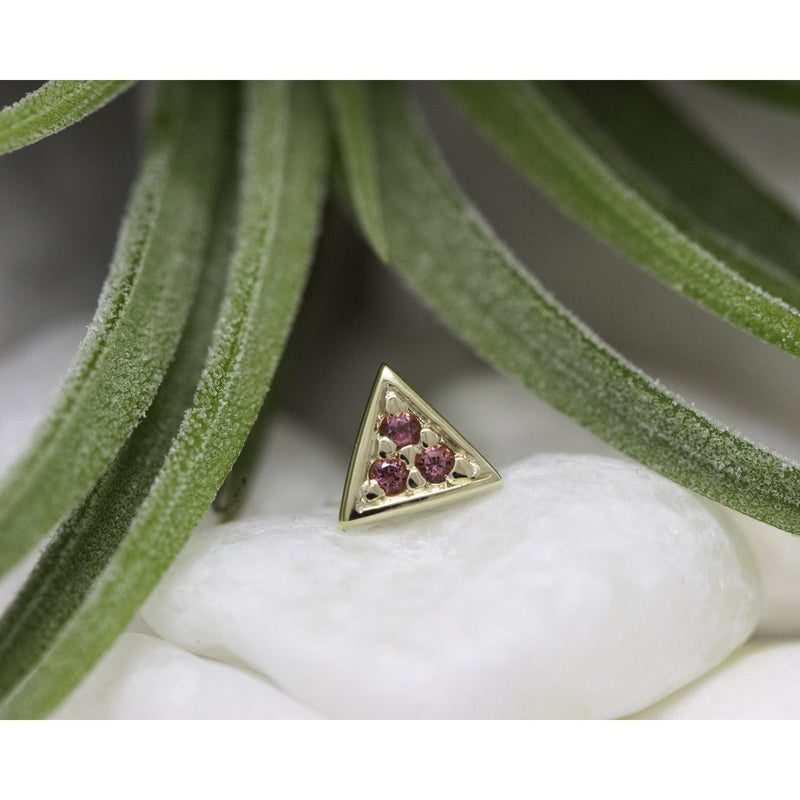 BVLA Threadless Micro Pave Triangle Pink Topaz 1.0 mm