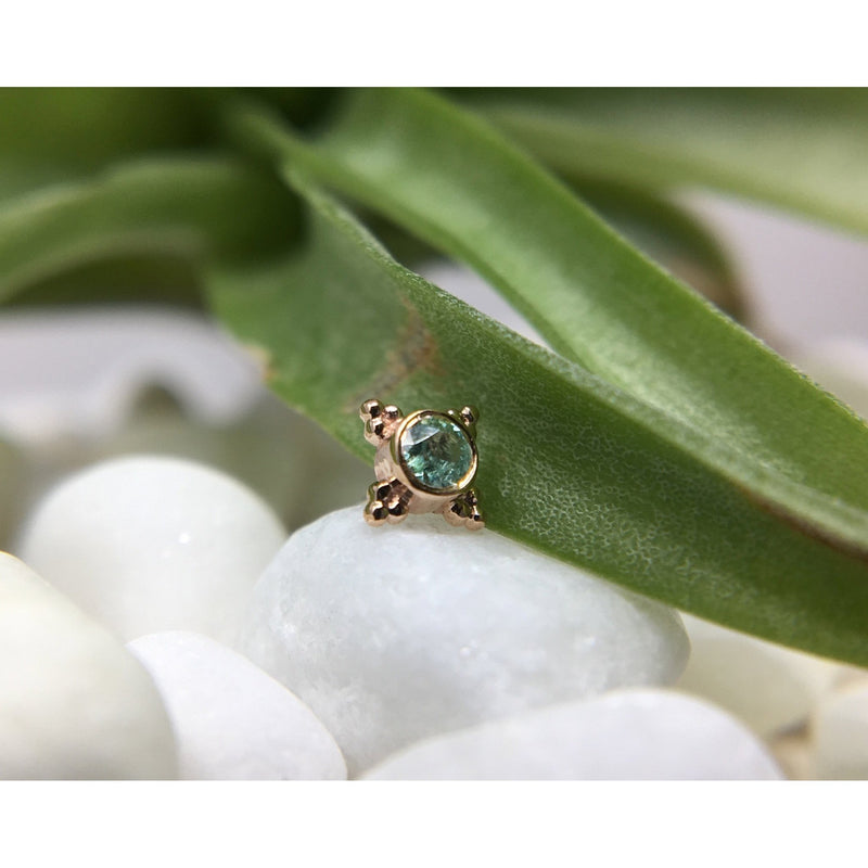 BVLA Threadless Mini Kandy Seafoam Tourmaline Rose Gold