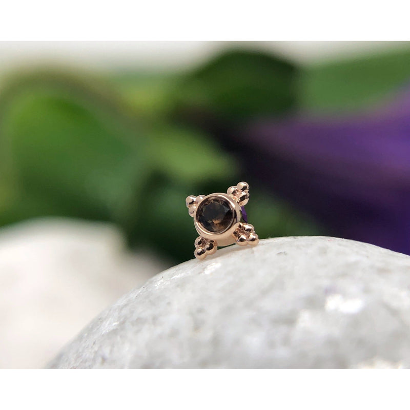 BVLA Threadless Mini Kandy Smokey Quartz Rose Gold