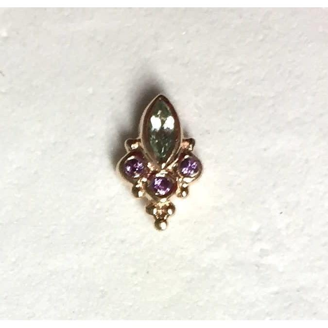 BVLA Threadless Mini Marquise Sarai Seafoam Tourmaline with Amethyst Accents  Rose Gold