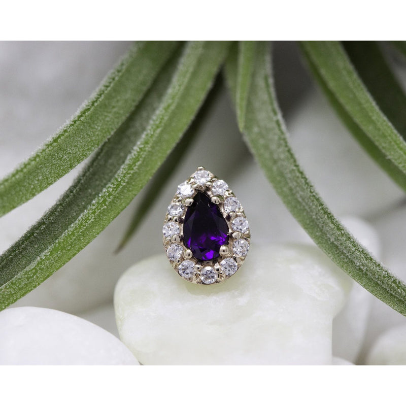 BVLA Threadless Pear Altura Amethyst with CZ Accents Rose Gold 4.0 x 2.5 mm