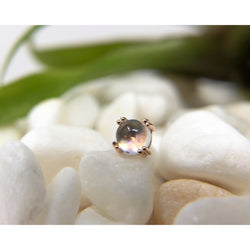 BVLA Threadless Prong Cabochon Rainbow Moonstone Rose Gold
