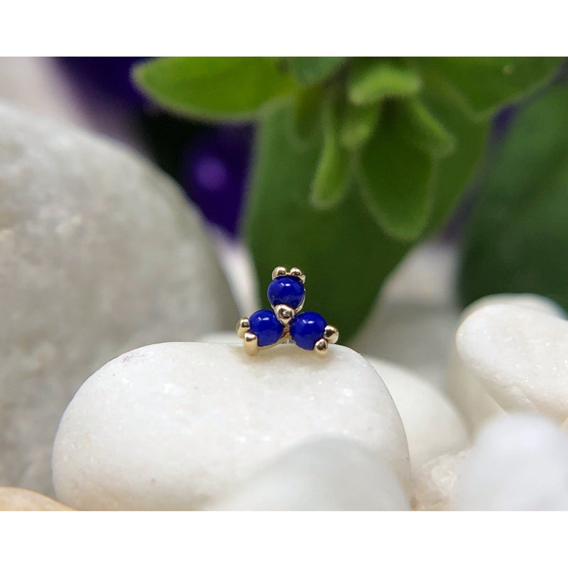 BVLA Threadless Prong Cabochon Trinity Lapis Yellow Gold 1.5 mm