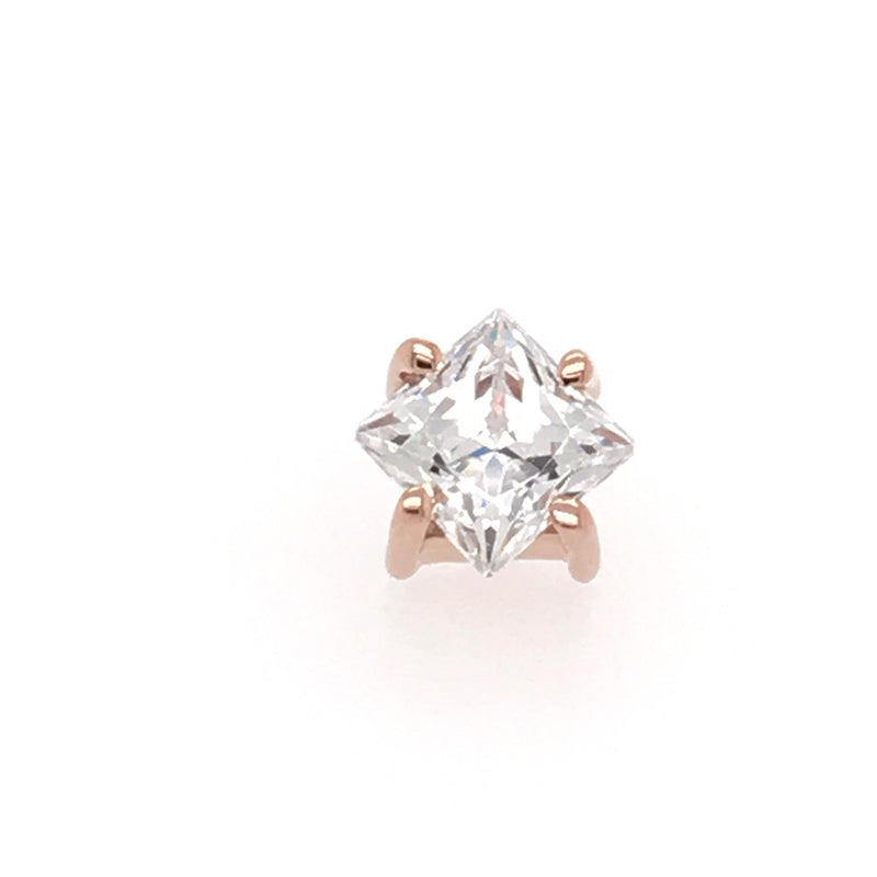 BVLA Threadless Prong Princess Axis CZ Rose Gold