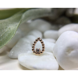BVLA Threadless Sophie Tear CZ Rose Gold 1.25 mm