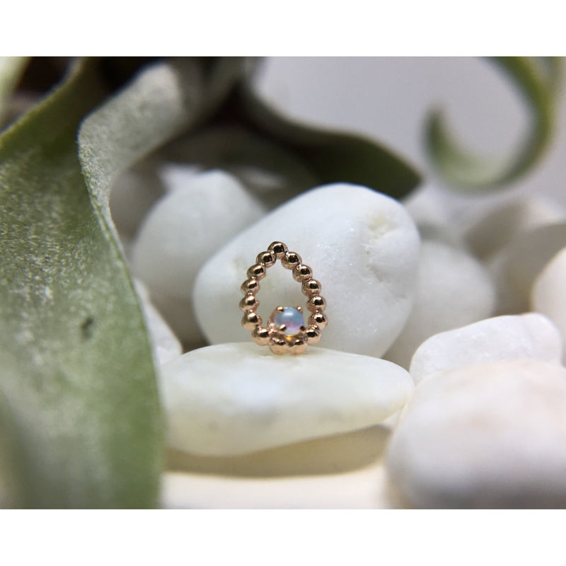 BVLA Threadless Sophie Tear White Opal AAA Rose Gold 1.5 mm