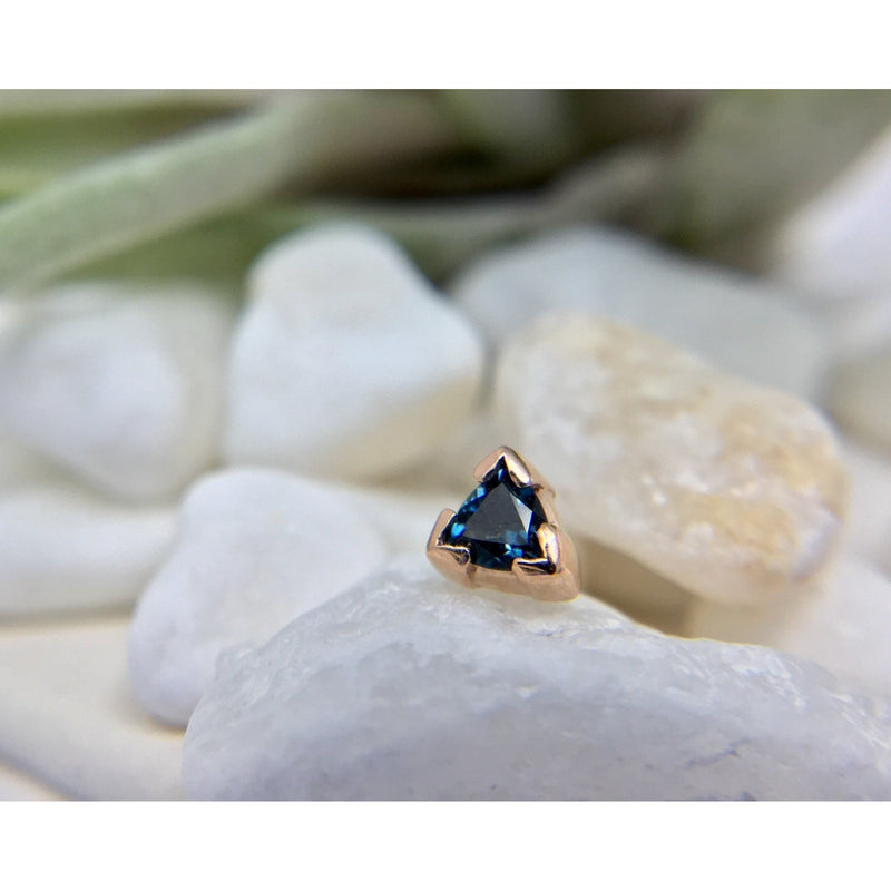 BVLA Threadless Trillion Half Bezel London Blue Topaz  Rose Gold 3.0 mm