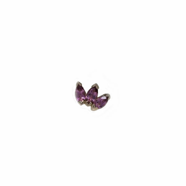 BVLA Threadless Triple Marquise Fan 3.0 Pink Tourmaline Rose Gold 3.0 mm x 1.5 mm
