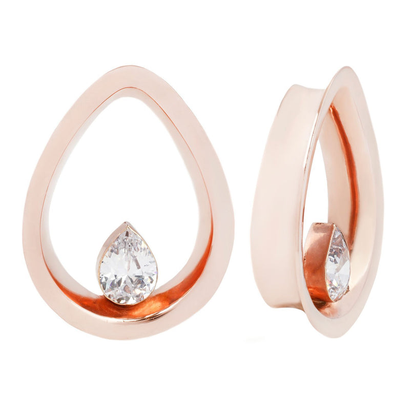 Rosegold Teardrop Plugs with CZ