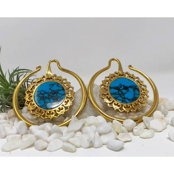 Earrings with Turquoise for Stretched Ears