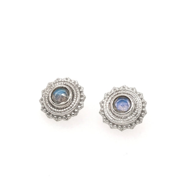 BVLA Threaded Afghan Rose Cut Rainbow Moonstone White Gold 16g 3.0 mm