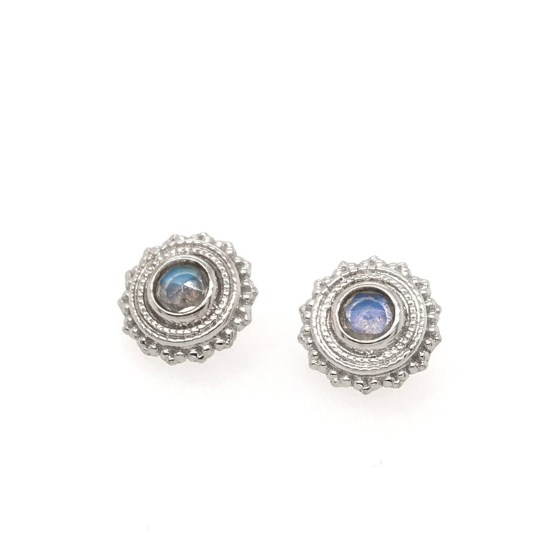Thr BVLA Afghan Rose Cut Rainbow Moonstone White Gold 16g 3.0 mm
