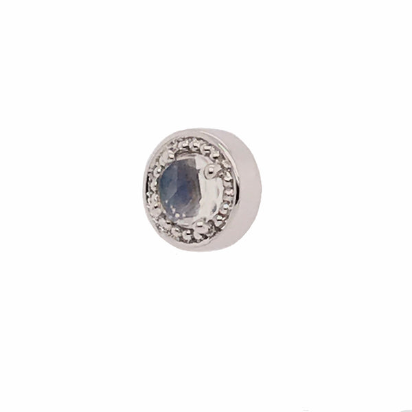 BVLA Threaded Prong Millgrain Rose Cut Rainbow Moonstone White Gold 16g 4.0 mm