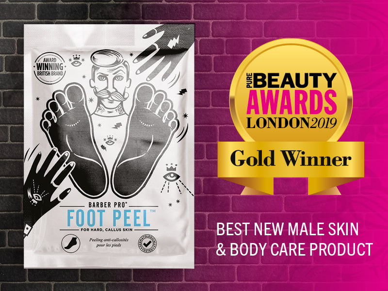 WINNER! BARBER PRO Foot Peel Wins Best New Male Skin & Body Care Product at the Pure Beauty Awards London 2019