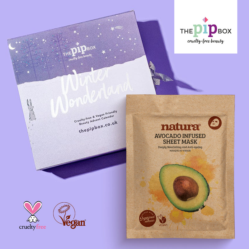 The Pip Box Winter Wonderland Advent Calendar 2019 featuring natura avocado sheet mask
