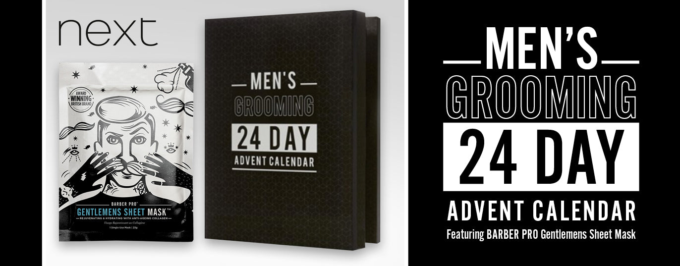 next Men's Grooming 24 Day Advent Calendar featuring BARBER PRO