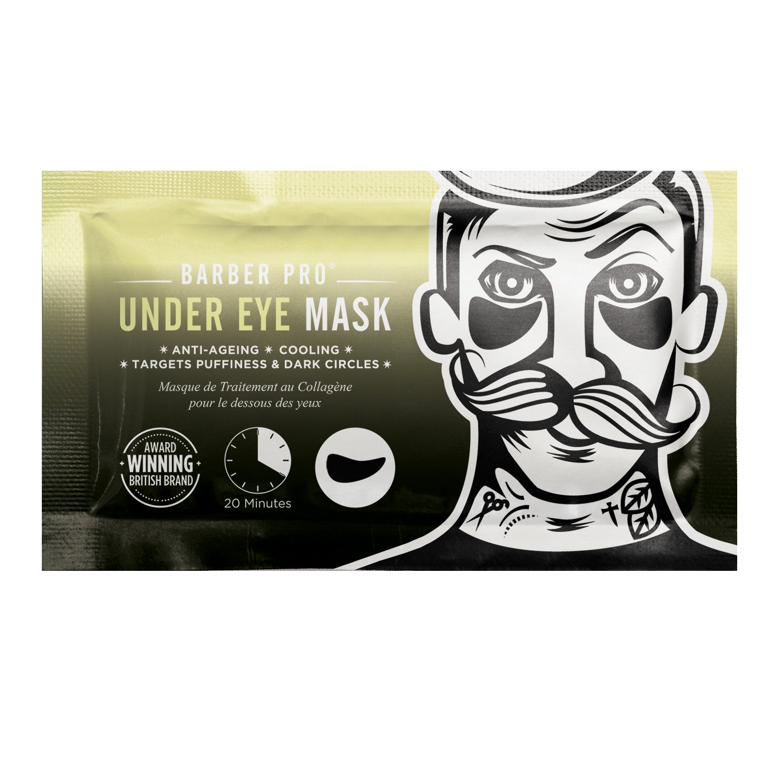 BARBER PRO UNDER EYE MASK with Activated Charcoal & Volcanic Ash