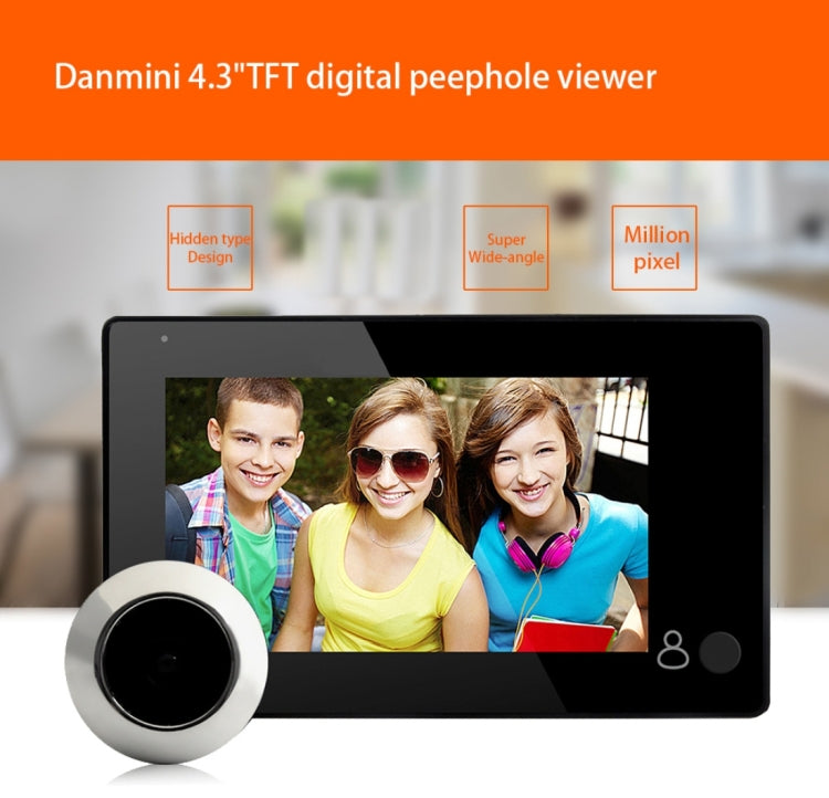 Danmini YB-43CH 4.3 inch Screen 1.0MP Security Camera Door Peephole with One-key to Watch Function(Black) - star-produkte.myshopify.com