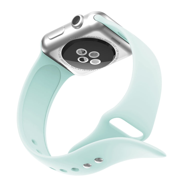 Double Rivets Silicone Watch Band for Apple Watch Series 3 & 2 & 1 42mm (Turquoise) - Star Produkte