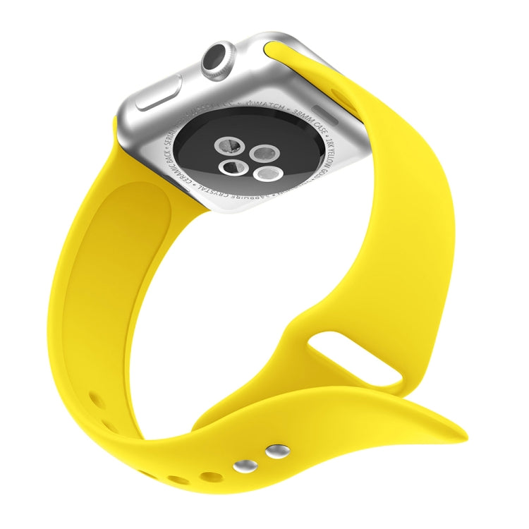 Double Rivets Silicone Watch Band for Apple Watch Series 3 & 2 & 1 42mm (Yellow) - Star Produkte