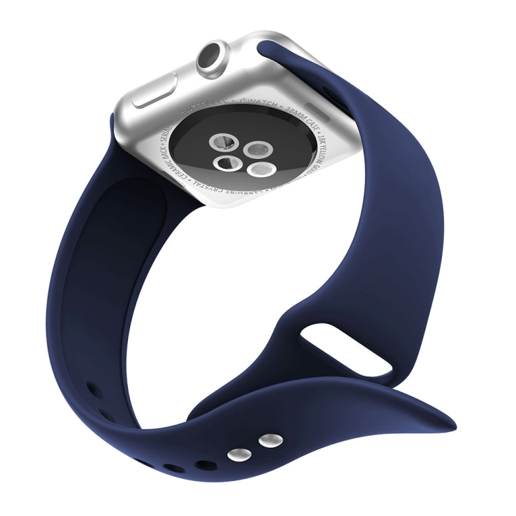 Double Rivets Silicone Watch Band for Apple Watch Series 3 & 2 & 1 38mm (Dark Blue) - Star Produkte