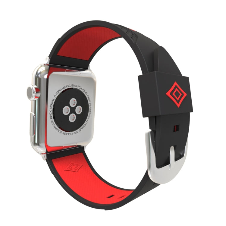 For Apple Watch 38mm Stripe Silicone Watchband with Connector (Black + Red) - Star Produkte