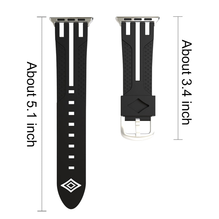 For Apple Watch 38mm Stripe Silicone Watchband with Connector (Black + White) - Star Produkte