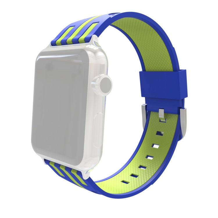 For Apple Watch 38mm Stripe Silicone Watchband with Connector (Blue + Green) - Star Produkte