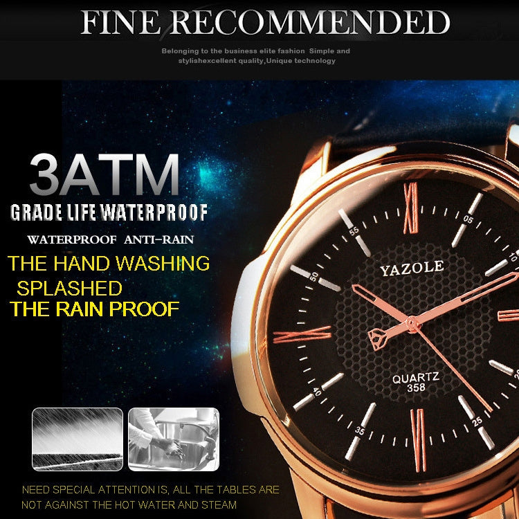 358 YAZOLE Men Fashion Business Waterproof Leather Band Quartz Wrist Watch(Black) - Star Produkte