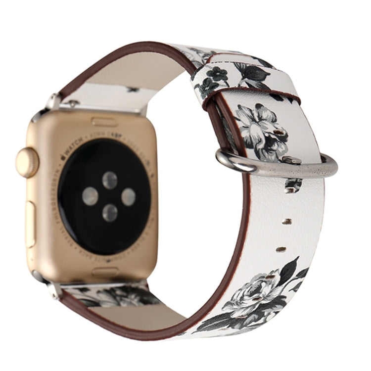 For Apple Watch Series 3 & 2 & 1 38mm Fashion Pastoralism Style Little Floral Pattern Women Watch Leather Wrist Band - Star Produkte
