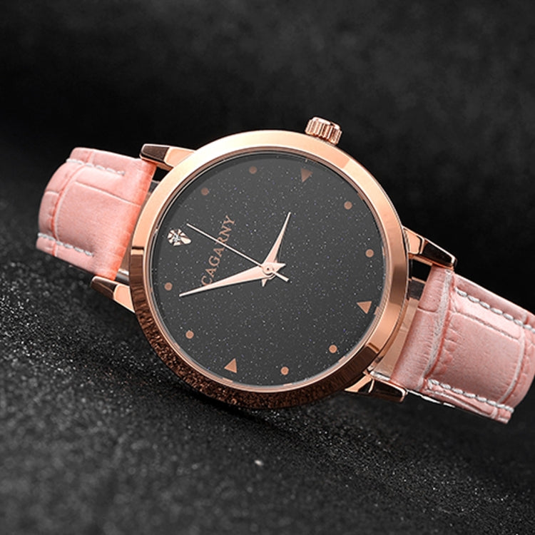 CAGARNY 6875 Round Dial Water Resistant Starry Sky Pattern Fashion Women Quartz Wrist Watch with Leather Band (Pink) - Star Produkte