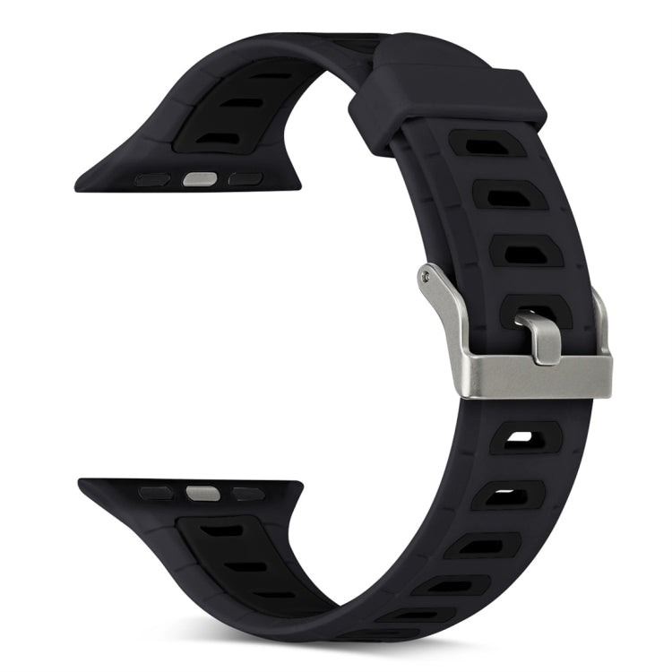 T Shape Two Color Silicone Watchband for Apple Watch Series 3 & 2 & 1 38mm(Black) - star-produkte.myshopify.com