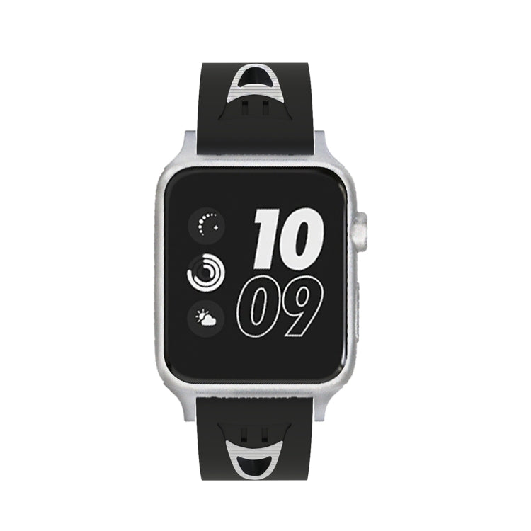 For Apple Watch Series 3 & 2 & 1 38mm Fashion Smiling Face Pattern Silicone Watch Strap (Black+White) - Star Produkte