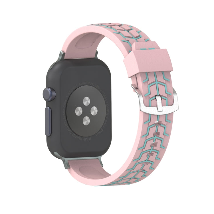 For Apple Watch Series 3 & 2 & 1 38mm Fashion Fishbone Pattern Silicone Watch Strap(Pink) - Star Produkte