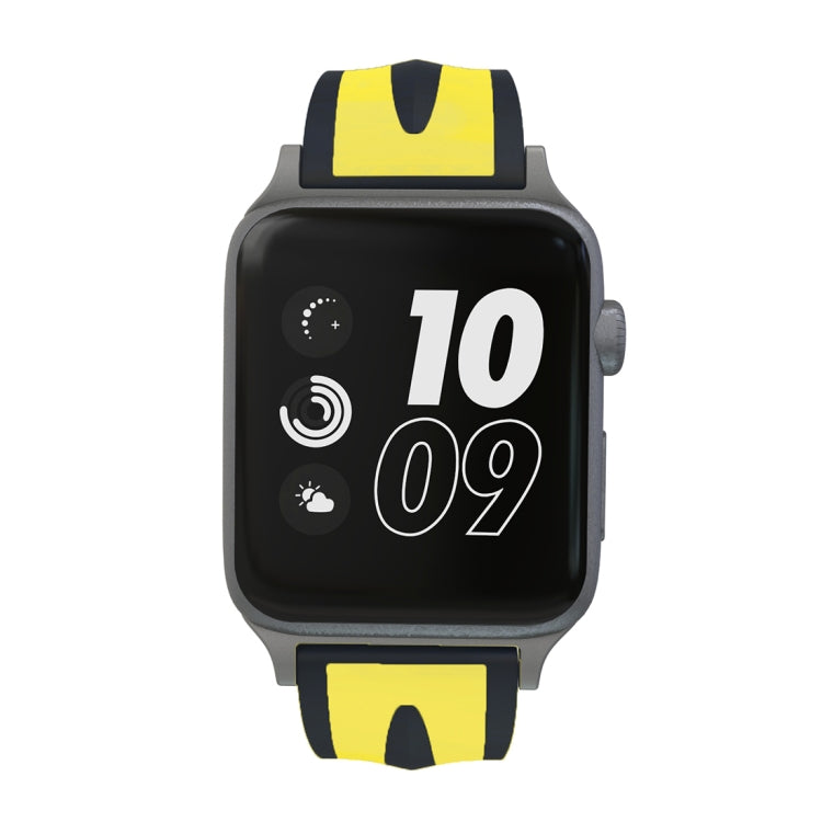 For Apple Watch Series 3 & 2 & 1 38mm Fashion Double Stripes Pattern Silicone Watch Strap (Black+Yellow) - star-produkte.myshopify.com