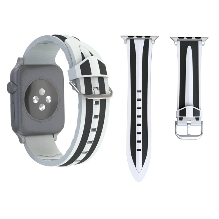 For Apple Watch Series 3 & 2 & 1 38mm Fashion Double Stripes Pattern Silicone Watch Strap (Black+White) - Star Produkte