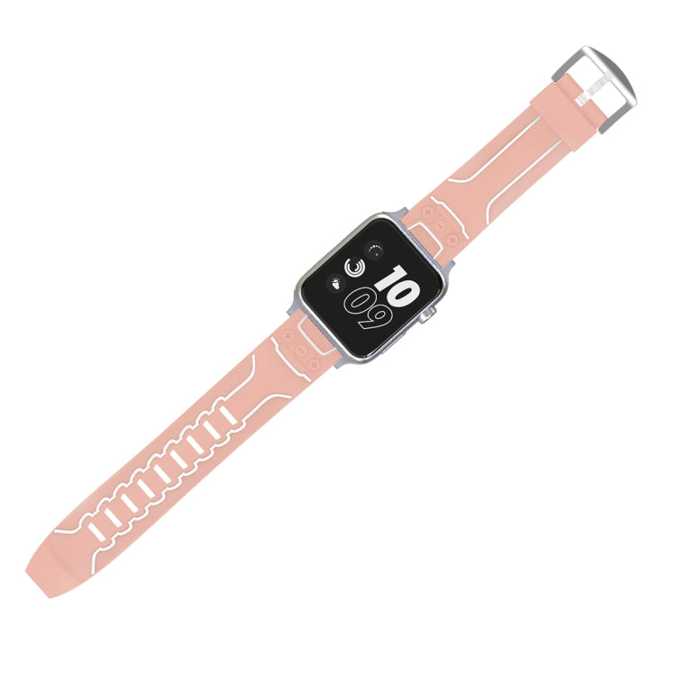 For Apple Watch Series 3 & 2 & 1 38mm Fashion Electrocardiogram Pattern Silicone Watch Strap(Pink) - Star Produkte
