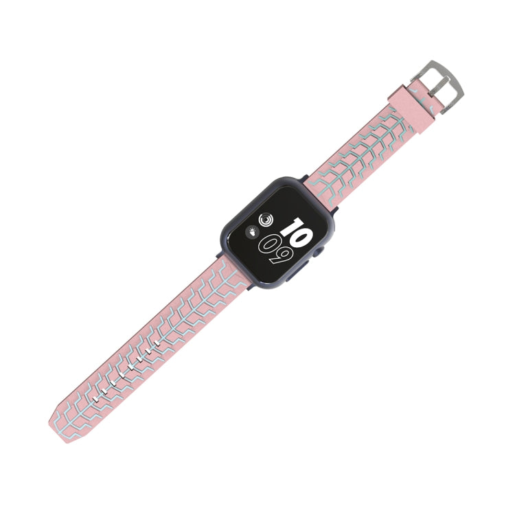For Apple Watch Series 3 & 2 & 1 42mm Fashion Fishbone Pattern Silicone Watch Strap(Pink) - Star Produkte