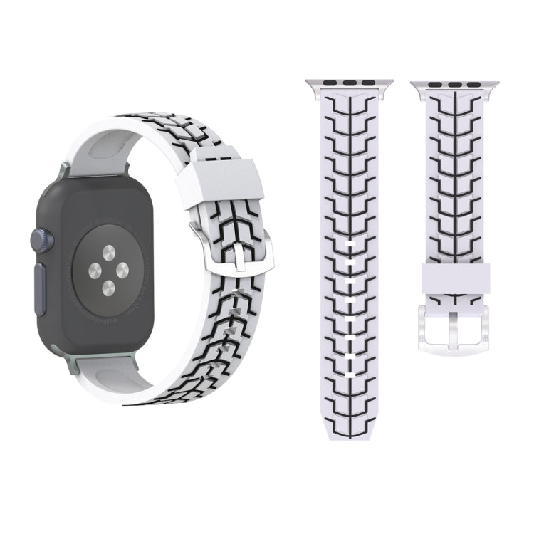 For Apple Watch Series 3 & 2 & 1 42mm Fashion Fishbone Pattern Silicone Watch Strap(White) - star-produkte.myshopify.com