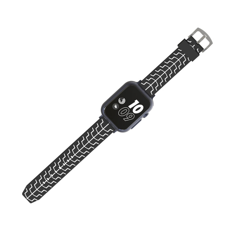 For Apple Watch Series 3 & 2 & 1 42mm Fashion Fishbone Pattern Silicone Watch Strap (Black+White) - Star Produkte