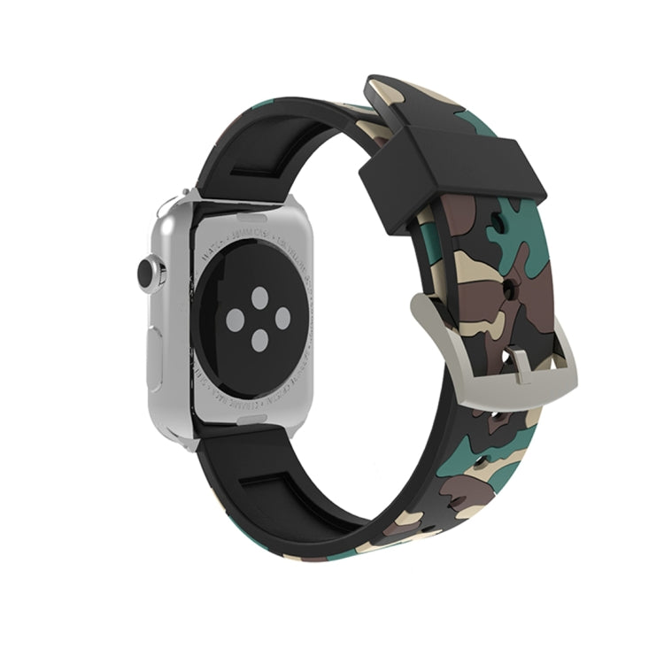 For Apple Watch Series 3 & 2 & 1 42mm Fashion Camouflage Pattern Silicone Watch Strap(Apricot) - Star Produkte