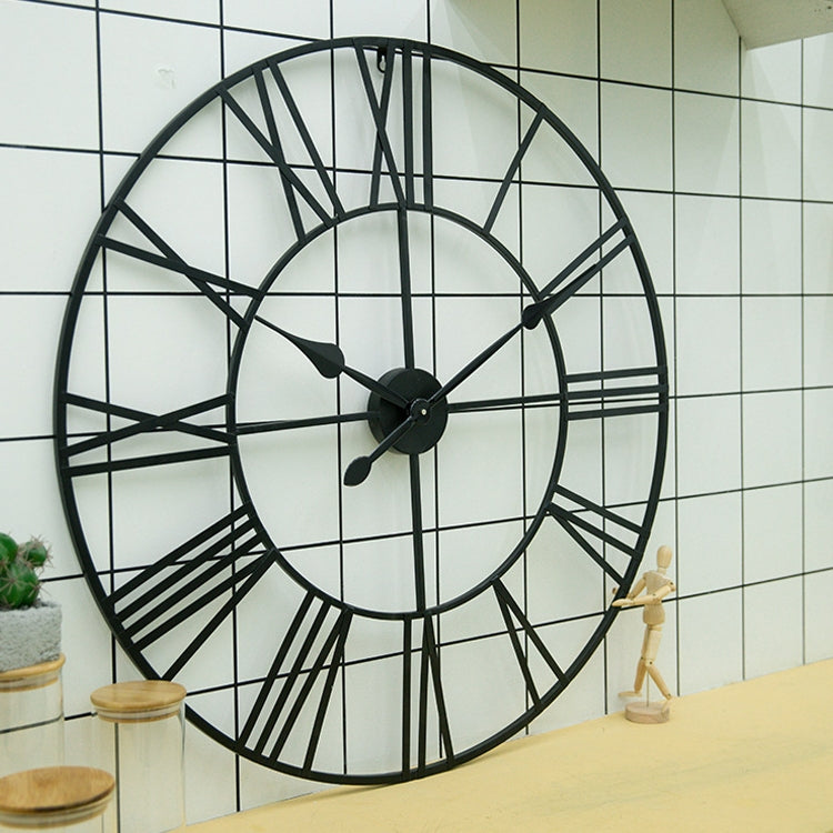 50cm Retro Living Room Iron Round Roman Numeral Mute Decorative Wall Clock (Vintage Gold) |