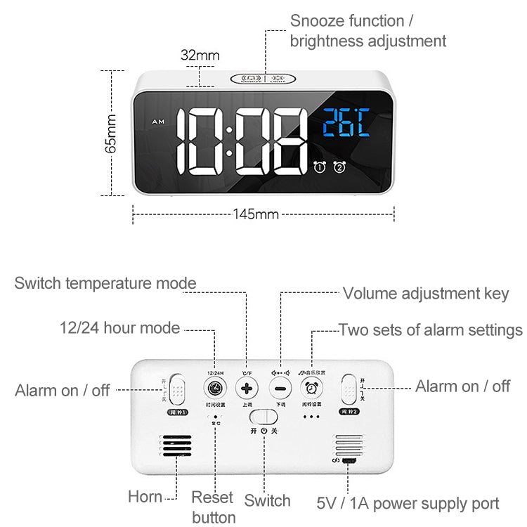 Bedside Alarm Clock Sound Control Mirror LED Music Clock (White) - Star Produkte